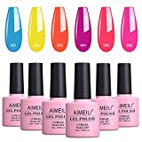AIMEILI Smalto Semipermente Kit Semipermanente Unghie in Gel UV LED Fluo Smalti Colorati Gel per Manicure Soak Off Neon Gel Polish Set 6 x 10 ml - Set Numero 11