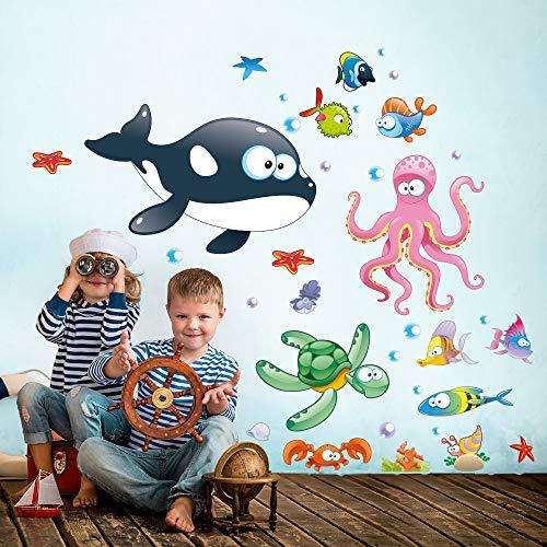 R00195 Adesivi Murali Soffice Effetto Tessuto Pesci Mare Decorazione Muro Bambino Neonato Nursery Cameretta Asilo Nido Carta da Parati Adesiva