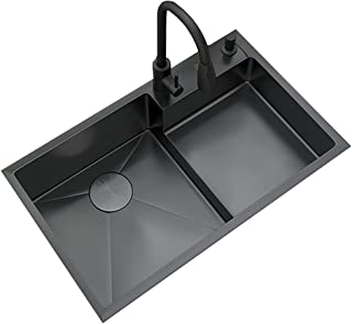 Kitchen sink حوض المطبخ. وعاء نانو أسود مزدوج 304 من الفولاذ المقاوم للصدأ لكل من عبوات حوض المغسلة مع صنبور وسلة تصريف