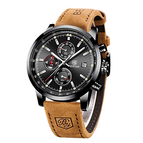BENYAR - Stylish Wrist Watch for Men, Genuine Leather Strap Watches, Perfect Quartz Movement, Waterproof and Scratch Resistant, Analog Chronograph Business Watches