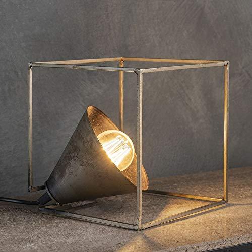 famlights Tischlampe e27 Tischlampe Metall - Tischlampe vintage - retro Tischleuchte fürs Wohnzimmer und Schlafzimmer/industrial design Nachttischlampe - silber