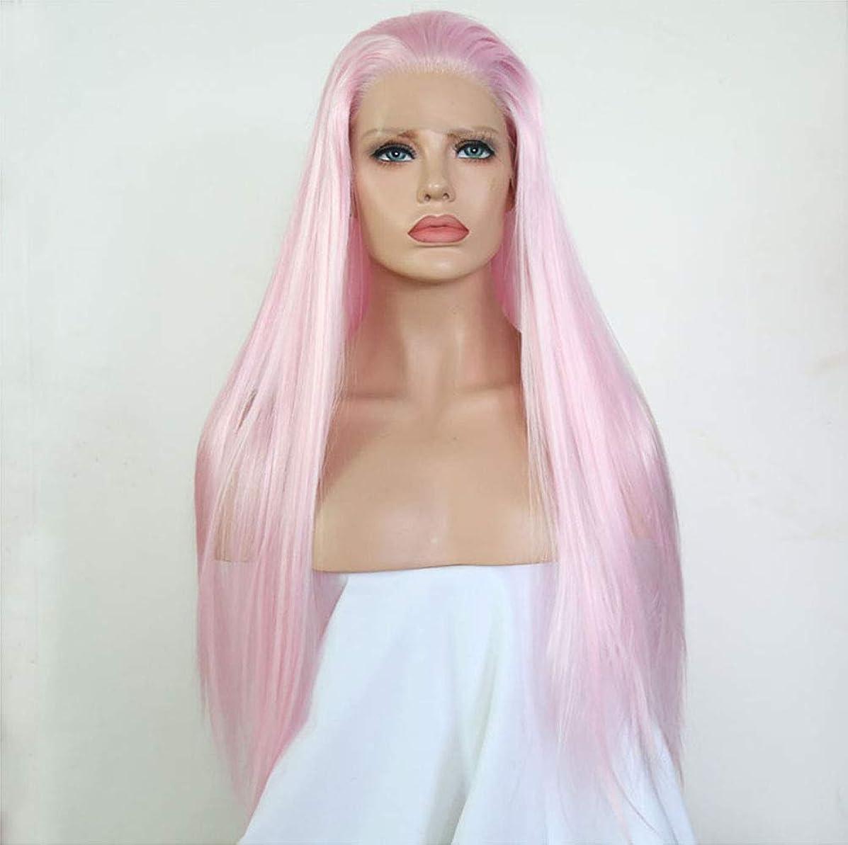吐く強度風邪をひく合成フロント耐熱高品質かつらのための女性フロントレースかつら長いストレートの髪
