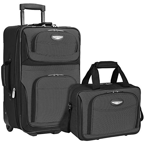 Travel Select Amsterdam Expandable Rolling Upright Luggage Set 2-Piece, Gray