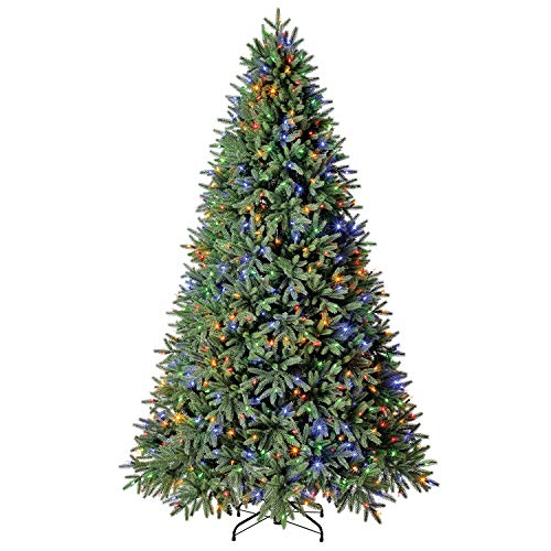 Evergreen Classics 7.5 ft Pre-Lit Frasier Fir Quick Set Artificial Christmas Tree, Remote-Controlled Color-Changing LED Lights