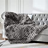 Sylanfia Grey Faux Fur Throws and Blankets for Sofa Washable, Couch and Bed - Soft Reversible Warm Thick Fluffy Fuzzy Blanket as Gift, Plush Furry Throw (50 x 65 inches)