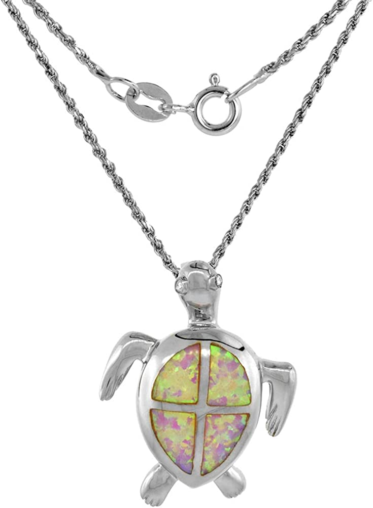 Sterling Silver Lab Max 79% OFF Opal Hawaiian in Sea Necklace Turtle Genuine Blue