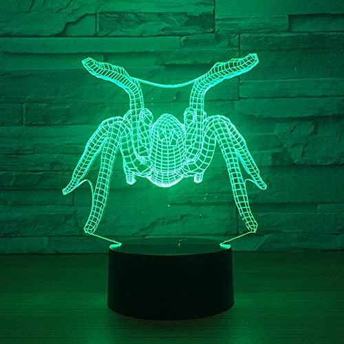 RMRM Luz Nocturna 3D LaLámpara DeMesa Spider 3D De 7 ColoresLlevó Una Lámpara De Luz De Noche De Acrílico