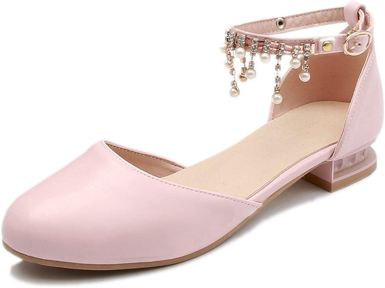 DoraTasia Women's Sweet Round Toe Pearl Pendant Ankle Strap Block Low Heel Pumps