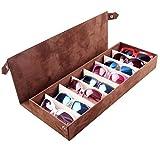 Fittoway - Caja organizadora con 8 compartimentos para gafas de sol, color café