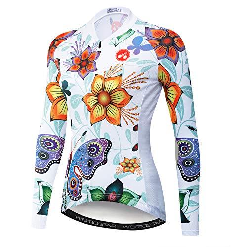 Radtrikot Damen Radfahren Langarm Jersey Frauen Bike Trikot Shirts Lange Rennrad Kleidung MTB Sportbekleidung Tops