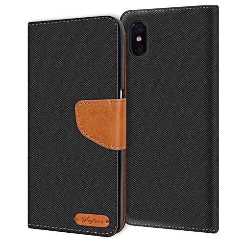 Verco kompatibel mit Xiaomi Mi 8 Pro Hülle, Schutzhülle für Mi 8 Pro Tasche Denim Textil Book Hülle Flip Hülle - Klapphülle Schwarz