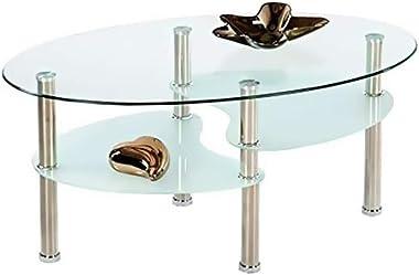 Tavolino Rotondo Da Salotto In Vetro Temperato Con 2 Ripiani E Gambe in Metallo Per Soggiorno Salone Sala Da Pranzo Tavolo Da