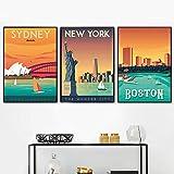 De la lonaDecoracion Marco de la París París Nuevo York Tokio Pared Arte Famosos Vintage Turismo Poster Ciudades Cuadros Salon Pintura Londres 40x60cmx3 / No Marco Mundo Ciudades 40x60cmx3 / No Marco