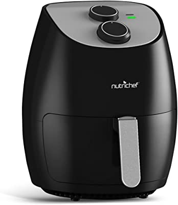 NutriChef Electric Hot Air Fryer Oven w/ Rotary Controls - Big 2.7 Qt Capacity Stainless Steel Kitchen Oilless Convection Power Multi Cooker w/ Basket & Pan - Cooks Healthy Recipes - PKAIRFR25 (Black)