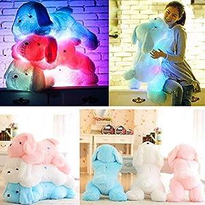 Bureze LED muñeca de perro cosas juguete luz nocturna peluche resplandor almohada suave luz hasta inductiva suave muñeca