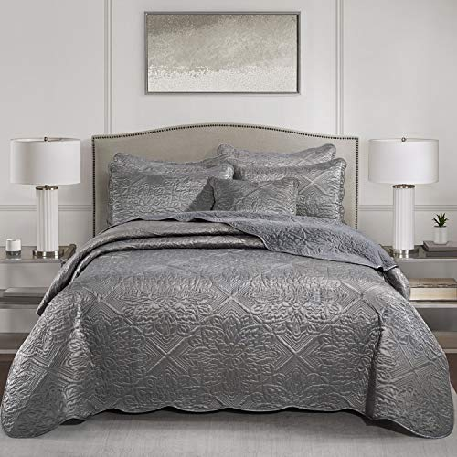Yorkshire Bedding Elegante 3 Stück Gesteppte Tagesdecke Bettdecke 240x260 cm Tröster Set Schlafzimmer Dekor Quilt 2 Kissen Shams (Godiva Grau)