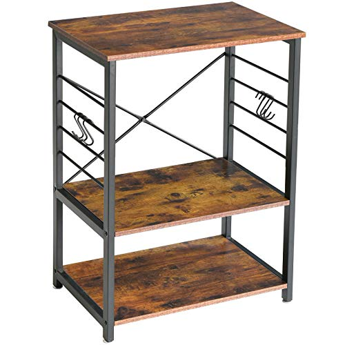 IBUYKE Industrial Kitchen Shelf, 3-Tier Serving Trolley 60x40x89 cm, Standing Shelf Microwave Rack with 6 Hooks, for Mini Oven, Toaster, Metal Frame, Storage Side Trolley TMJ022H