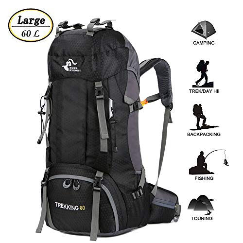 60L Waterproof Lightweight Hiking Backpack with Rain Cover,Outdoor Sport Travel Daypack for Climbing Camping Touring (Black)