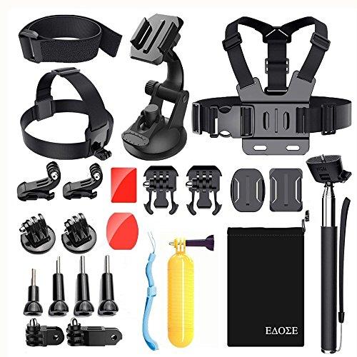 EDOSE Correa para la Cabeza Pecho Mount Harness Chesty Kit de Accesorios para AKASO ek7000apeman A70GoPro Hero 5/4/3+/3/2/1Gopro sesión cámara de acción Deporte cámara Impermeable cámara.