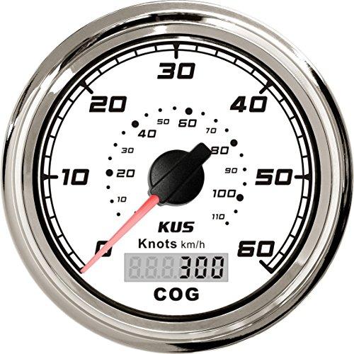 KUS GPS Velocímetro 60Knots Indicador de velocidad con luz de fondo del curso para barcos Yates 85mm 12V/24V (blanco)