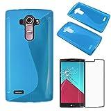 ebestStar - Funda Compatible con LG G4 H815, G4 Dual-LTE Carcasa Gel Silicona Motivo S-línea, S-Line Case Cover, Azul + Cristal Templado Protector Pantalla [Aparato: 149 x 76.2 x 9.8mm, 5.5'']