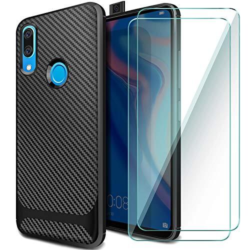 AROYI Carcasa Huawei P Smart Z & [2 Pack] Película protectora de vidrio templado, funda de silicona Case P Smart Z TPU Parachoques de absorción de golpes y respaldo contra rayones para Huawei P Smart Z / Y9 Prime 2019-Negro