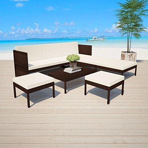 lingjiushopping Ensemble canapés de jardin 15 pièces en polyrotin modulaire marron Couleur du coussin : Blanc crème Ensemble de meubles d'extérieur