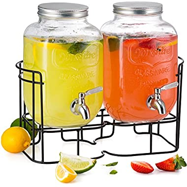 KooK Double Yorkshire Drink Dispensers with Stainless Steel Spigot and Metal Stand, 1 Gallon
