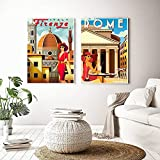 WQHLSH HD Print Vintage Art Painting Italia Roma Capri Toscana Retro Pósters e Impresiones Ciudades de Viaje Landscape Wall Art Foto Dormitorio 20x28inchx2 Sin Marco