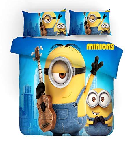 GDGM Minions Bettbezug,Bettwaren-Sets Für Kinder - Bettbezug Und Kissenbezug,Mikrofaser,3D Digital Print,kinderbettwäsche Minions Family (I,220x240cm)
