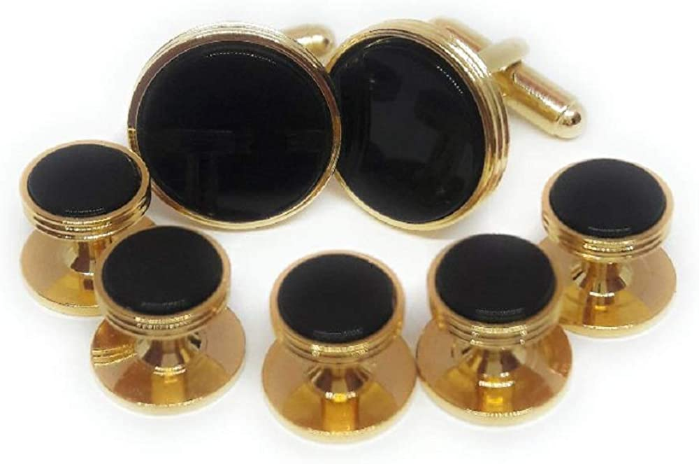 Menz Jewelry Accs Fancy Edge Onyx Cufflinks and Studs