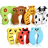 7Pcs Finger Pinch Guard, HNYYZL Cartoon Animal Door Stop Soft Foam Cushion Baby Finger Protector, Prevent Finger Pinch Injuries, Slamming Door, and Child or Pet from Getting Locked in Room