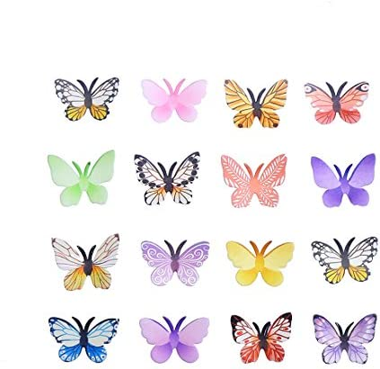 GEORLD Set of 24 Edible Cake Cupcake Toppers Wafer Butterflies Mixed Colour With Antenna product image