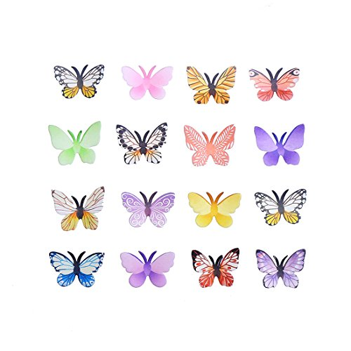 GEORLD Set of 24 Edible Cake & Cupcake Toppers Wafer Butterflies Mixed Colour With Antenna