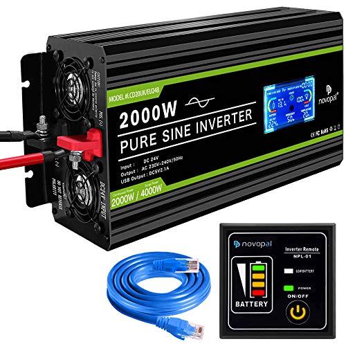 novopal® Spannungswandler24V auf 230V 2000W/4000W Reiner Sinus Wechselrichter -Inverter Konverter mit 2 EU Steckdose und 2.4A USB-Port - inkl. 5 Meter Fernsteuerung mit LCD Bildschirm