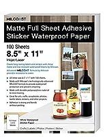 マット フルシート 粘着ステッカー 防水 写真 クラフト紙 100 Sheets ホワイト MC-MFSWP-LBL-100
