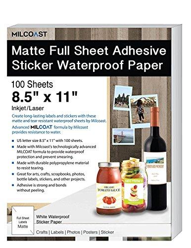 Milcoast Matte Full Sheet 85 x 11 Adhesive Tear Resistant Waterproof Photo Craft Paper - for InkjetLaser Printers - for Stickers Labels Scrapbooks Bottles Arts Crafts 100 Sheets