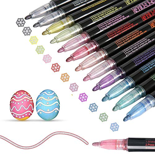 Doodle Dazzle Markers, Double Line Outline Pen Markers,Magic Shimmer Paint Pens,12 Colors Marker Pen for Highlight for Drawing/Painting/Posters/DIY Art Crafts (12 Colors)