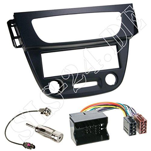 Einbauset : Autoradio 1-DIN Radioblende Radio Blende - schwarz + Quadlock - ISO KFZ Adapter + Fakra Antenne für Renault Mégane III (Z) ab 11/2008 / Fluence (Z) ab 2009