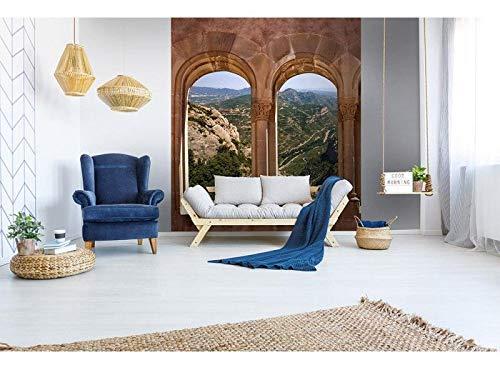 Vlies Fototapete GEWÖLBTER FENSTER 225 x 250 cm   Vliestapete - Wandtapete für Wohnzimmer Schlafzimmer Büro Flur   PREMIUM QUALITÄT - MADE IN EU - Inklusive Tapetenkleber