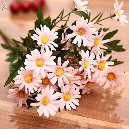 Moares Fleurs artificielles, 1 bouquet de 9 têtes de chrysanthèmes artificielles pour intérieur et extérieur, décoration de mariage, style coréen rose