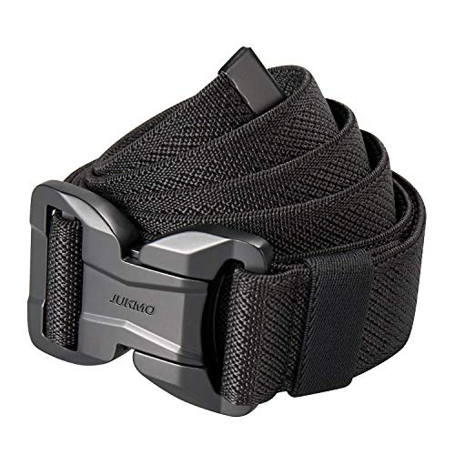 "JUKMO Magnetic Tactical Belt, Military Gun Rigger 1.5"" Nylon Web Work Belt with Heavy Duty Quick Release Buckle (Black, Large-for Waist 42'-46' (Length 53'))"