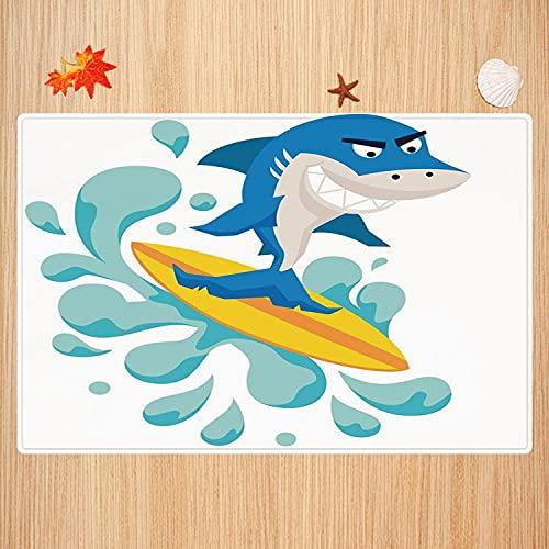Alfombra de baño Antideslizante,Ride The Wave, Divertido tiburón surfeando en el océano atlético pez Arte gráfico Decorativo, VIO Apto para Cocina, salón, Ducha (50x80 cm)