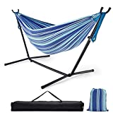 Zupapa Hammock with Stand 2 Person Heavy Duty, Portable Hammock with Stand for Camping and Outdoor, Adjustable Hammock Stand and Double Hammock with Carrying Bag, 550 LBS Capacity. (Sea Stripes)