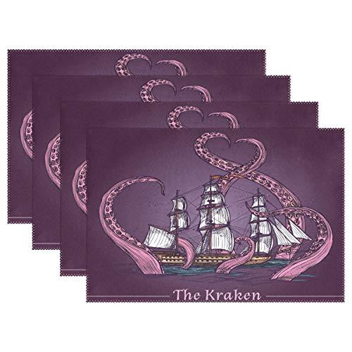 vinlin The Kraken Octopus Ship Hitzebeständige Tischsets 30,5 x 45,7 cm Küche Esstisch Platzset Tellerhalter, Multi, 4 Stück,Set for 4