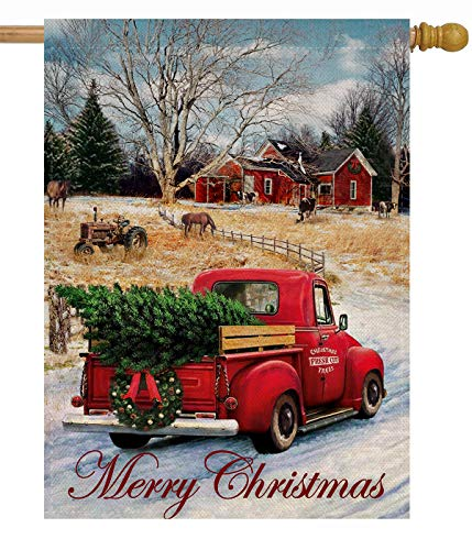 Dyrenson Merry Christmas 28 x 40 House Flag Red Truck Double Sided, Xmas Farmhouse Quote Burlap Garden Yard Decoration, Rustic Winter Vintage Seasonal Outdoor Décor Decorative Large Flag for Holiday