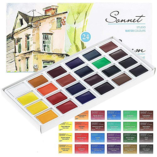 Sonnet Watercolour Paint Set - 24 Whole Pans - for Professionals, Beginners and Enthusiasts by Nevskaya Palitra from Russia