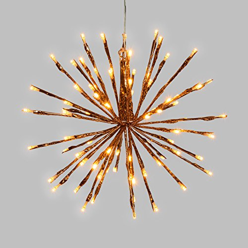 LuminalPark Ramo Decorato, TWIGball Rame, h. 30 cm, 80 LED Bianco Caldo Tradizionale, Luce Fissa, Cavo Trasparente, 24V, Esterno