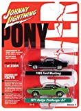 Johnny Lightning 1971 Dodge Challenger R/T Green & 1965 Ford Mustang Fastback Black 2 Car Set Pony Power Ltd Ed 2304 pcs 1/64 Diecast Models JLPK010
