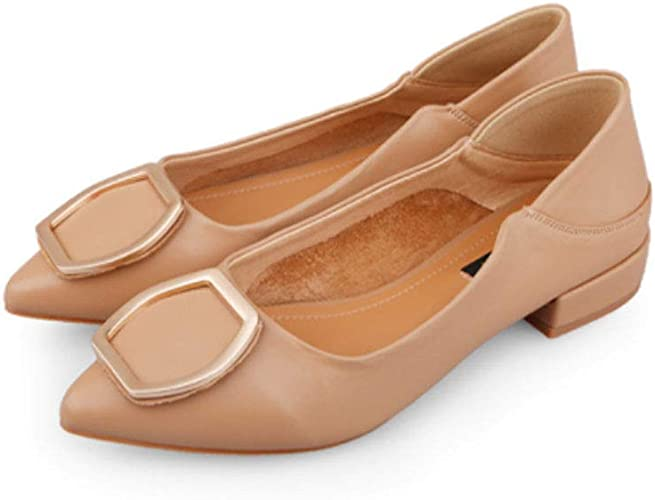 MEMIND Printemps Et D'été Loisirs Chaussures en Cuir De Mocassins Bouche Peu Profonde Pointu Chaussures Simples Ms en Métal Bouton Sauvage Grand-Mère Chaussures Peau Douce Chaussures à Talons Bas
